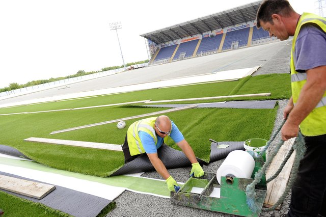 Plastic pitches have been laid at 17 SPFL venues including Falkirk (above).