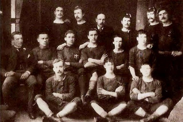 The Hibs squad of 1886/87 that won the Scottish Cup for the first time. Many of these players would later transfer to Celtic