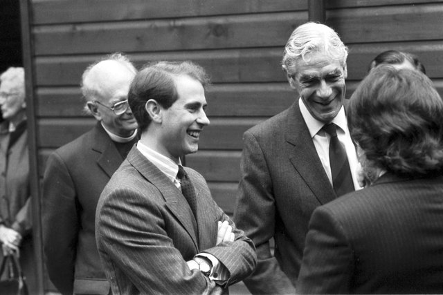 Prince Edward visits St Mary's cathedral workshop project in Edinburgh, October 1988. Other men not identified.