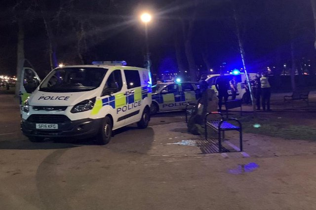 Police presence at the Meadows in Edinburgh this evening