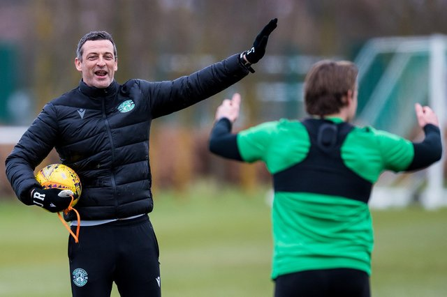 Hibs head coach Jack Ross during a training session at East Mains. (Photo by Ross Parker / SNS Group)