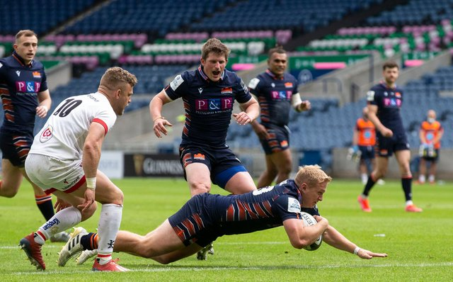 Edinburgh's Cameron Hutchison made a try-scoring debut off the bench in the narrow defeat by Ulster. Picture: Bruce White/SNS