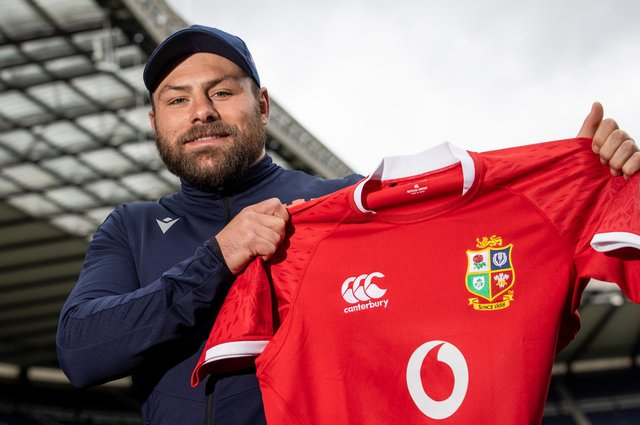 Edinburgh and Scotland prop Rory Sutherland shows off the Lions jersey after his call-up to the squad. Picture: Craig Williamson/SNS