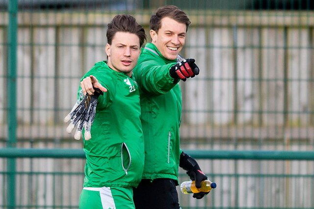 Hibs' Kevin Dabrowski (left) and Matt Macey during a training session. Both goalkeepers have been offered new deals and could have a huge part to play next season. Photo by Mark Scates / SNS Group