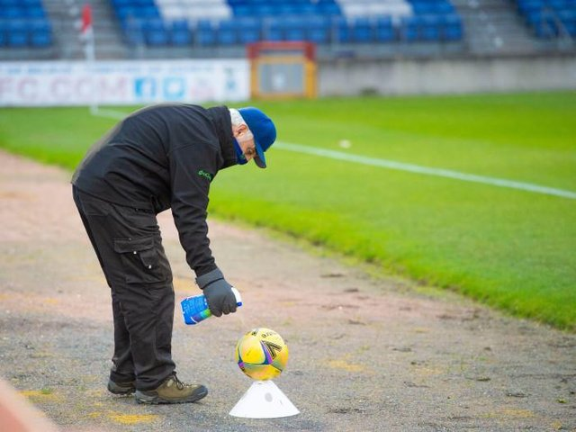 Coronavirus safefty measures being carried out before the Betfred Cup match between Inverness Caledonian Thistle and East Fife on November 14, 2020 (Photo by Mark Scates / SNS Group)