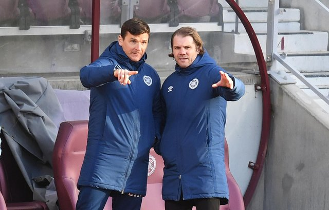 Hearts manager Robbie Neilson and assistant coach Lee McCulloch.