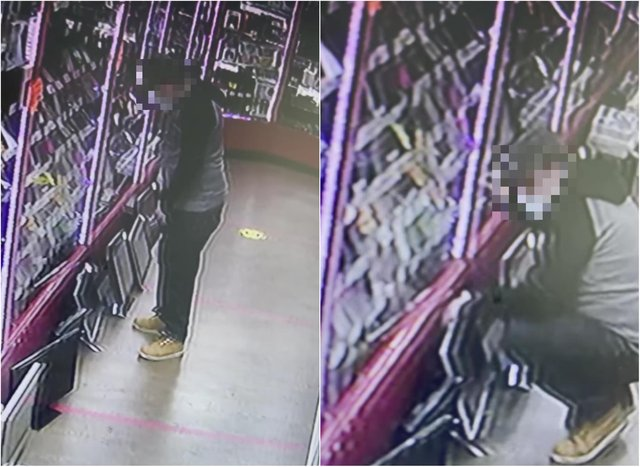 The suspect was caught on camera stealing the computer in the Replayit Musselburgh shop.