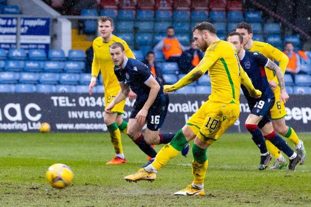 Hibs' Martin Boyle scores a penalty to help his side on the way to victory over Ross County. Photo by Alan Harvey / SNS Group