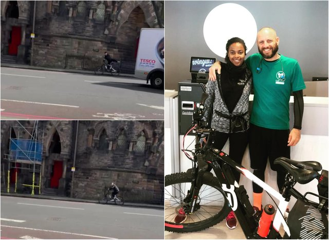Stuart Walker with his friend Ondina, who did the Majorca to Leicester charity bike ride with him. Footage shows the suspect on the e-bike (left). Pictures: supplied