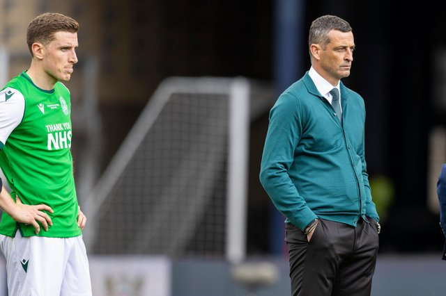 Hibs boss Jack Ross looks on after the Scottish Cup final defeat by St Johnstone.
