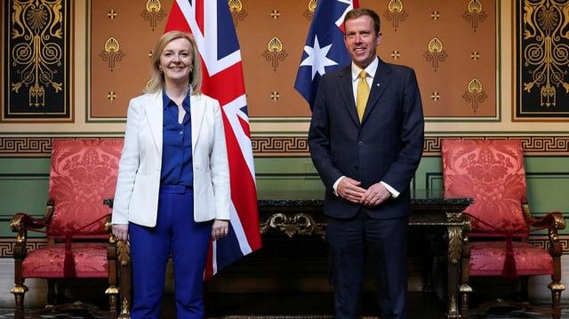 UK secretary of state for international trade Liz Truss, left, and Australia's trade minister Dan Tehan