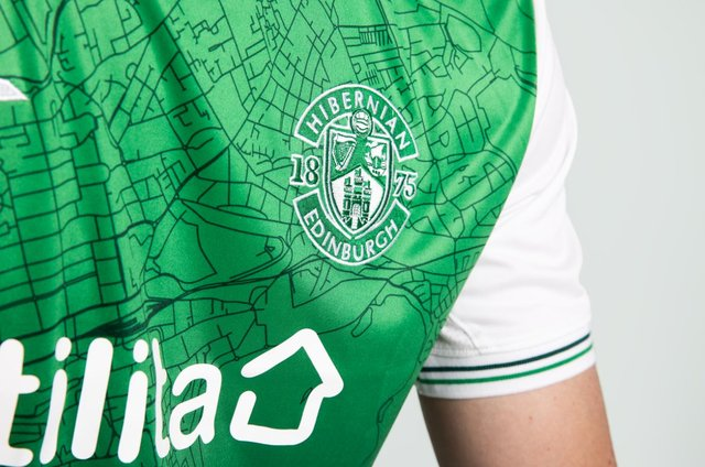 Detail from the new Hibs home shirt