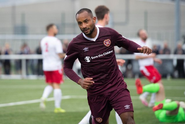 Loic Damour after scoring for Hearts against Spartans on Tuesday.