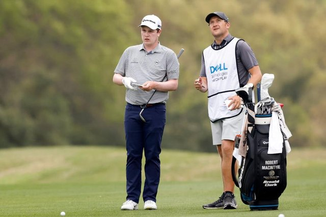 Bob MacIntyre and caddie Mikey Thomson talk tactics during the World Golf Championships-Dell Technologies Match Play at Austin Country Club in Texas. Picture: Michael Reaves/Getty Images.