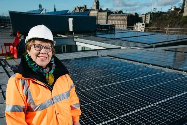 Co-op chair Lesley Hinds on the roof of the council offices at Waverley Court