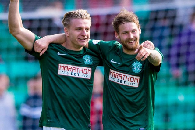Former Hibs striker Jason Cummings and current star Martin Boyle. Picture: SNS