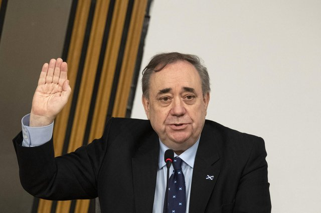 Former first minister Alex Salmond is sworn in before giving evidence to the Scottish Parliament Harassment committee. Picture: Andy Buchanan/PA Wire