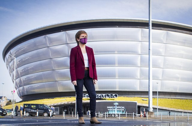 First Minister Nicola Sturgeon, leader of the Scottish National Party, outside the Covid 19 vaccination centre at the SSE Hydro in Glasgow.