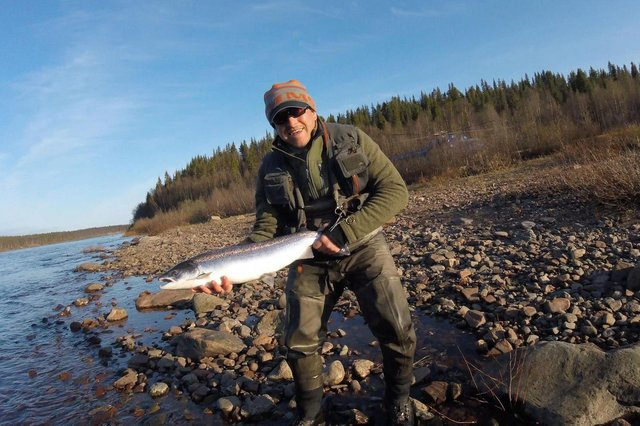 Sean McGarry of Bonnyrigg landed 33 trout at Rosslynlee recently but this 8lb Atlantic salmon was caught at Lower Varzuga on the Kola Peninsula in Russia.