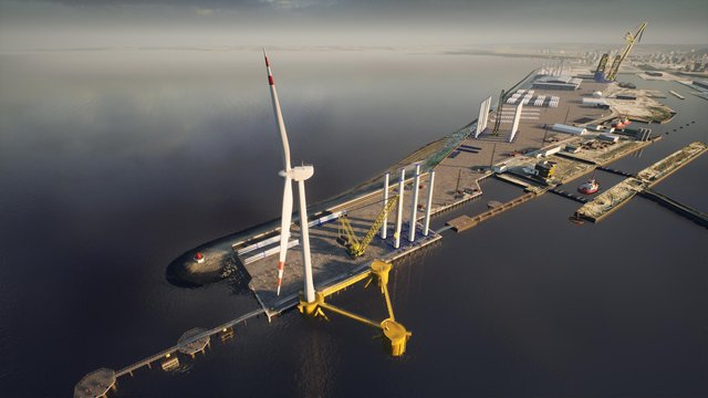 CGI image showing proposed outer berth at the Port of Leith with floating foundation and offshore wind turbine. The £40m private investment will see the creation of a bespoke, riverside marine berth capable of accommodating the world's largest offshore wind installation vessels.