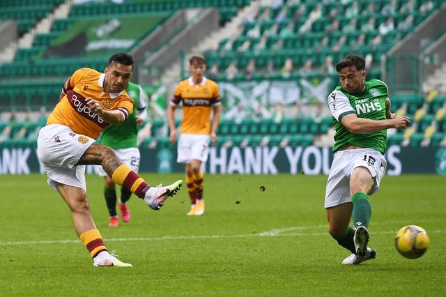 Tony Watt shooting for goal in Motherwell's 0-0 draw at Easter Road earlier this season. Picture: SNS