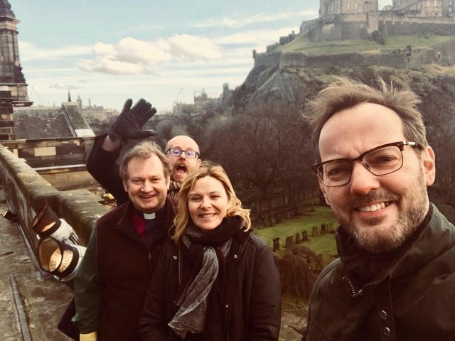 Russell Thomas (front), Kim Cattrall, Rev Peter Sutton and Cameron Brooks at St Cuthbert's Parish Church. Pic: Church of Scotland