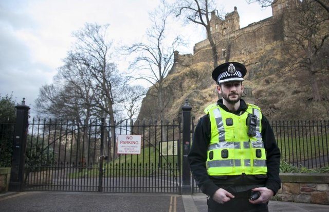 Police outside Princes Street Gardens on King's Stables Road following the incident in January 2018. Pic: Alistair Linford.