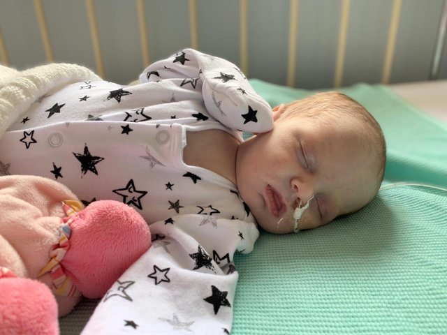 Rory was given just a 30 per cent chance of survival when she was diagnosed at two weeks old