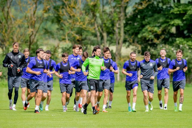 Hibs are put through their paces at the training centre ahead of the Arsenal friendly