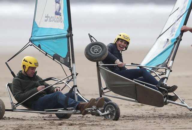 The Earl and Countess of Strathearn land yachting on the beach at St Andrews picture: Andrew Milligan/PA Wire