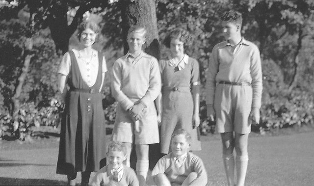 The photo which features in the visitors book of Prince Philip's visit to George Square in Edinburgh in 1935. From left: Granny Minou Bartholomew, Philip of Greece, Aunt Ailie, Matthias Paneth, front: Uncles Robbie and Pete. Pic copyright: Image reproduced with kind permission of the Bartholomew Family.