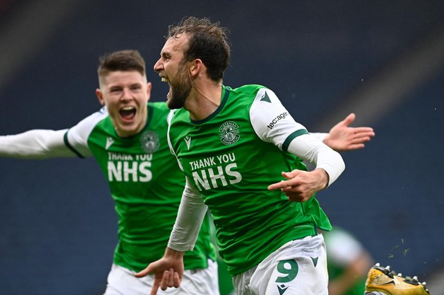 Christian Doidge celebrates making it 2-0 to Hibs in their Scottish Cup semi-final victory over Dundee United. Picture: SNS