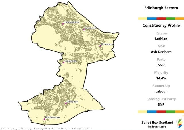 Edinburgh Eastern constituency map. Picture: Allan Faulds/Ballot Box Scotland
