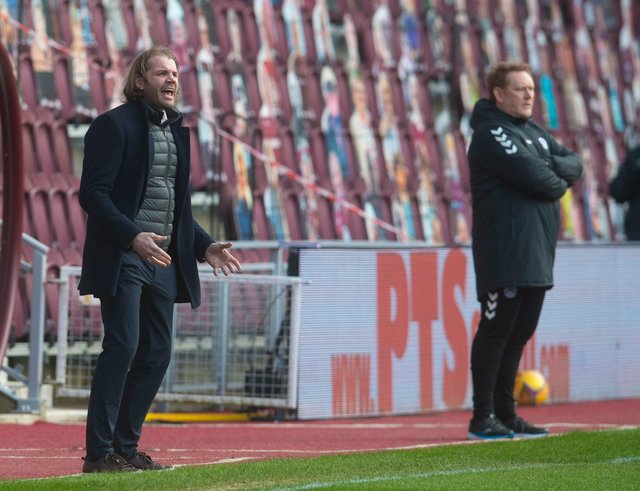 Hearts manager Robbie Neilson and Ayr United manager David Hopkin at Tynecastle.