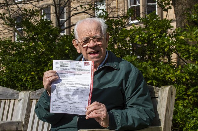David Hay with his 'do not attempt resuscitation' (DNAR) letter which he was given while receiving hospital treatment (Picture: Lisa Ferguson)