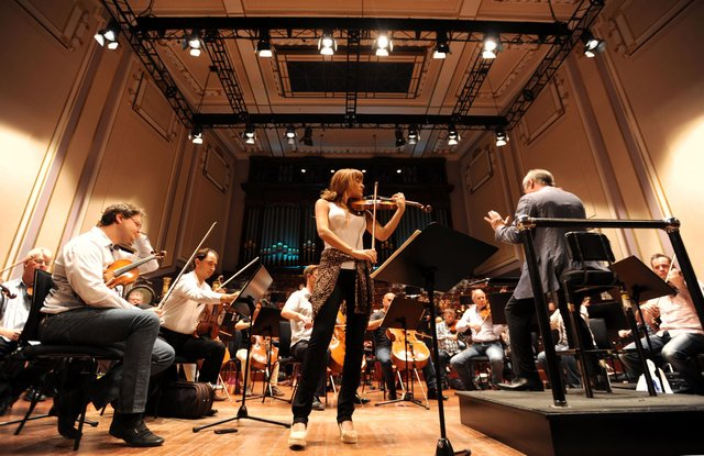 Violinist Nicola Benedetti made her festival debut at the Usher Hall with the London Symphony Orchestra   Picture: Jane Barlow