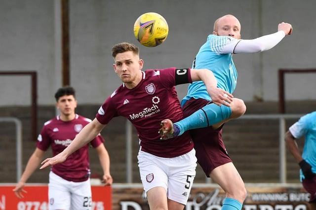 Thomas O'Brien and Hearts striker Liam Boyce battle for possession. Picture: SNS