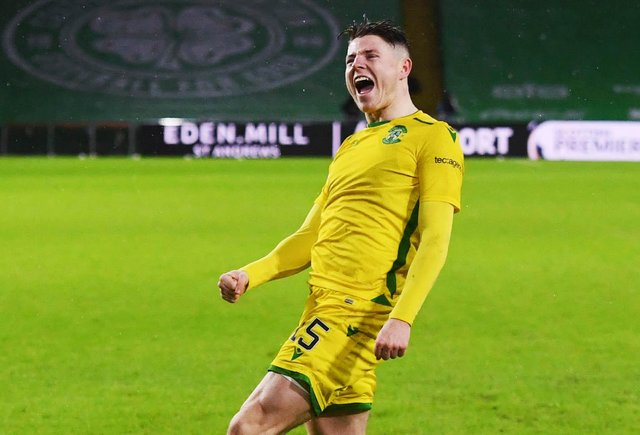Described as a old-fashioned striker by club legend Michael Weir, Kevin Nisbet is a picture of joy after scoring one of his 14 goals for Hibs this season. Photo by Ross MacDonald / SNS Group