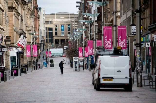 An almost empty Buchanan Street in the centre of Glasgow as people observe the spring 2020 lockdown. Non-essential stores were forced to close for months at the end of last year, hammering trade, but industry leaders had been hoping for a lift from April 26. Picture: John Devlin