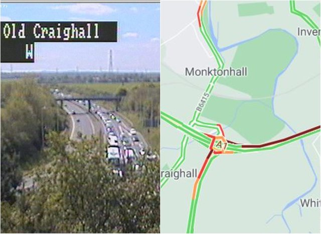 A1: Long queues in the outskirts of Edinburgh as emergency services attend crash on major motorway