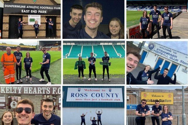 Edinburgh acting trio, Two and a half Tinnies, have raised over £1,000 for charity by travelling to every professional league football club in Scotland in less than 24 hours.