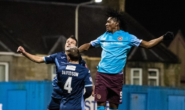 Armand Gnanduillet scored twice on his Hearts debut the last time the teams met. Picture: SNS
