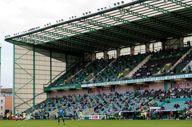 There were 2,000 supporters in attendance when Hibs took on Arsenal in a pre-season friendly last week. Picture: SNS