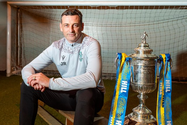 Hibs manager Jack Ross hopes to finally get his hands on the Scottish Cup later this month but first his team must win their semi-final against Dundee United. Photo by Mark Scates / SNS Group