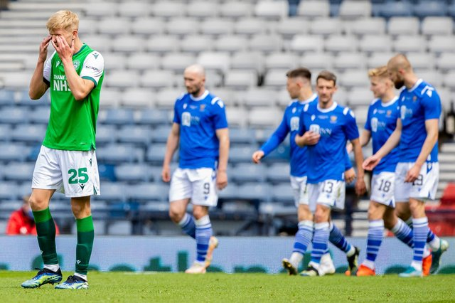 Hibs' Josh Doig looks on in anguish as St Johnstone take the lead in the Scottish Cup.
