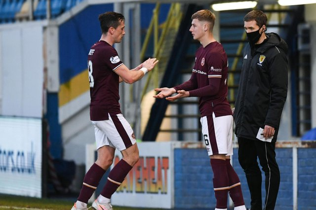 Hearts youngster Scott McGill replaces Aaron McEneff during the midweek match at Morton. (Photo by Craig Foy / SNS Group)