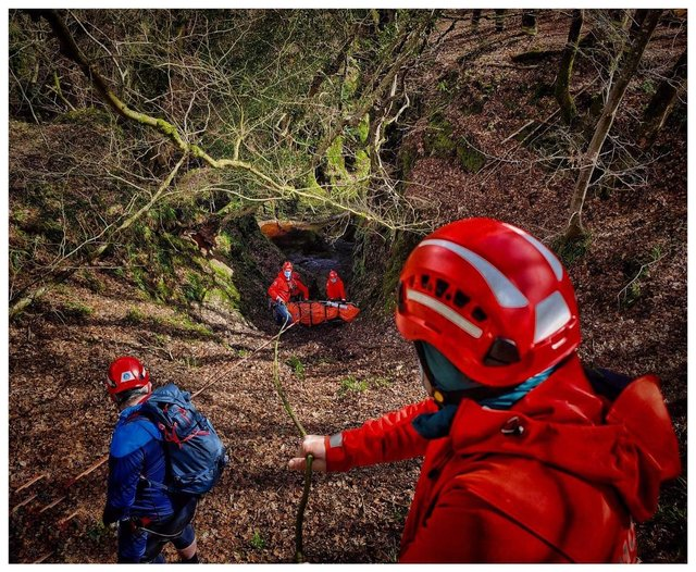 Lomond Mountain Rescue team were there to help the man after he fell at Devil's Pulpit earlier today. Pic: Lomond Mountain Rescue Team.