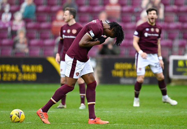 Armand Gnanduillet scored Hearts' second goal against Queen of the South.