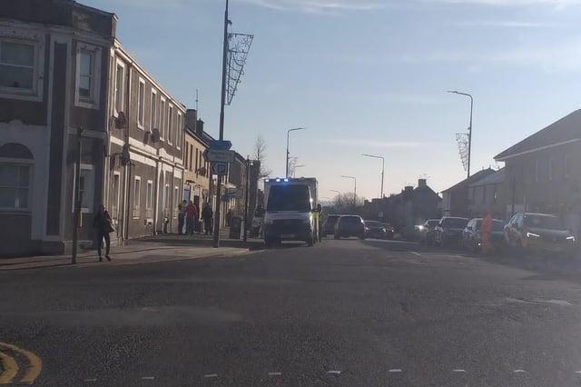 Ambulance on the scene at East Main Street in Armadale, West Lothian (Photo: Lisa Ferguson).