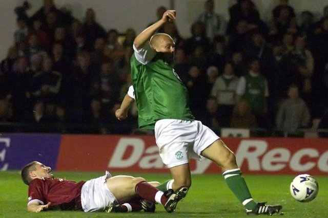 Mixu Paatelainen completes his hat-trick as Hibs go on to defeat city rivals Hearts 6-2. Photo by SNS Group